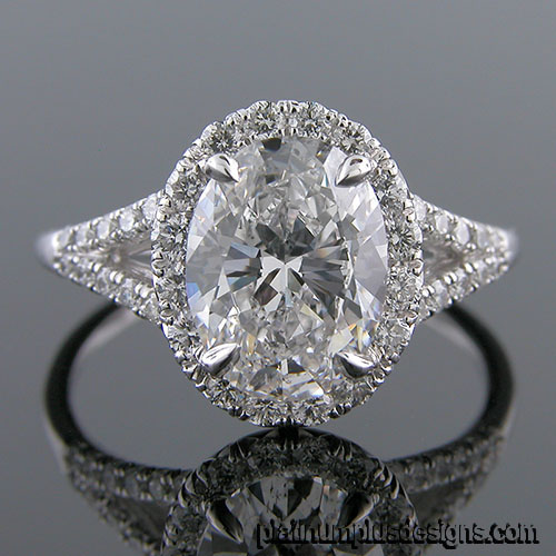 1167-1 Platinum diamond semi mount engagement ring setting
