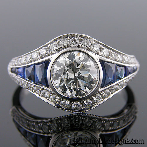 1176-4 Custom designed Vintage inspired Micro Pave diamond and sapphire mount
