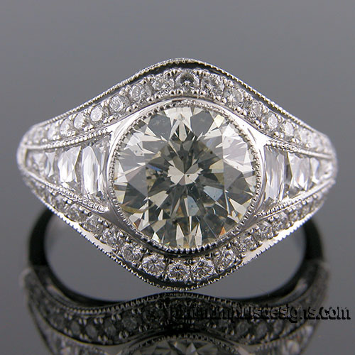 1176A-1 Custom designed Vintage inspired Micro Pave diamond and fancy diamond mount