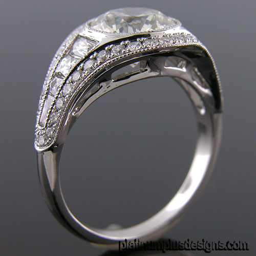 1176A-1 Custom designed Vintage inspired Micro Pave diamond and fancy diamond mount - Click Image to Close