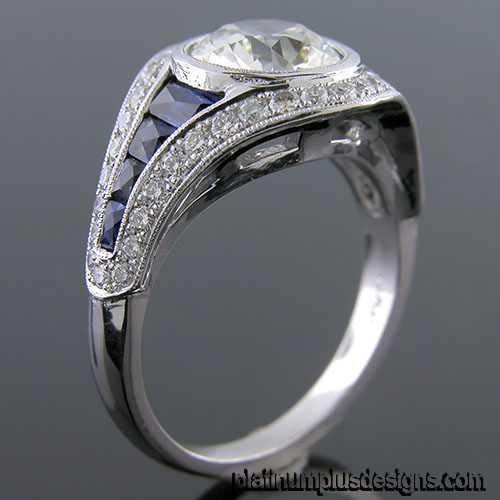 1176A-4 Custom designed Vintage inspired Micro Pave diamond and sapphire mount