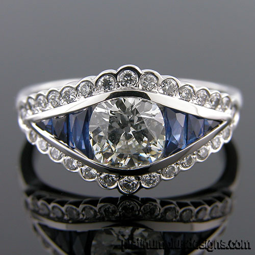 1177-4 Custom designed Vintage inspired diamond and sapphire semi mount