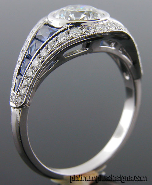 1177-4 Custom designed Vintage inspired diamond and sapphire semi mount - Click Image to Close