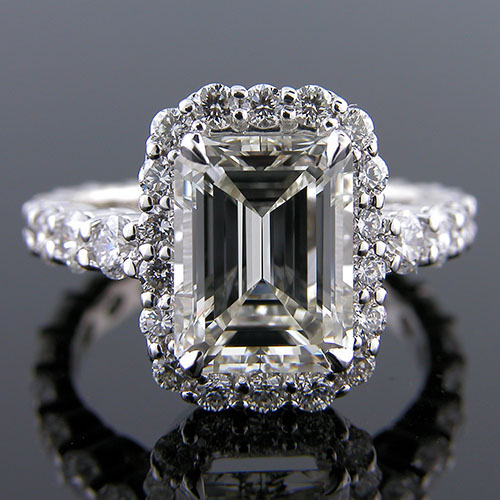 1178-1 Vintage inspired common prong-set full eternity diamond shank platinum engagement ring semi mount - Click Image to Close