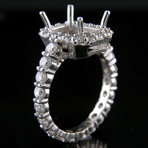 1178-1 Vintage inspired common prong-set full eternity diamond shank platinum engagement ring semi mount