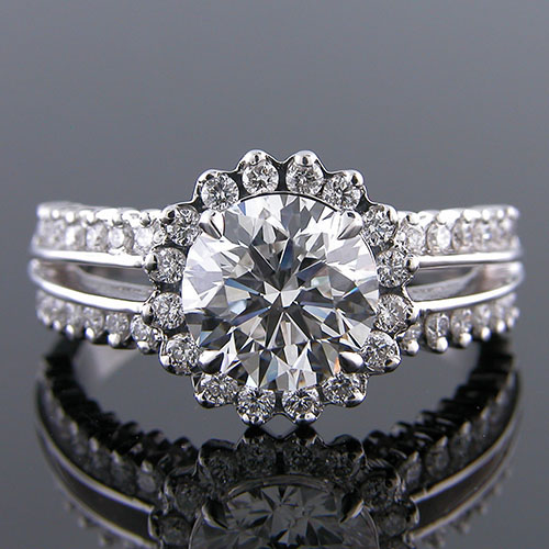 1182-1 Contemporary split shank prong-set diamond halo platinum engagement ring semi mount
