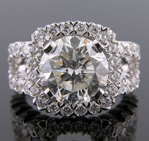 1183-1 Vintage inspired fishtail-set diamond halo split-shank eternity platinum engagement ring semi mount