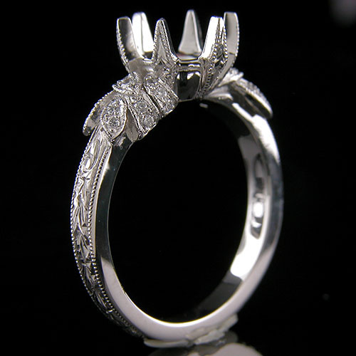 1184-1 Art Deco inspired Pave set diamond floral motif platinum engagement ring semi mount