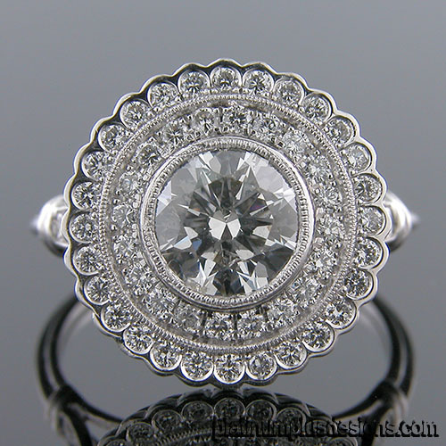 1186-1 Custom designed Vintage inspired Micro Pave diamond double halo mount