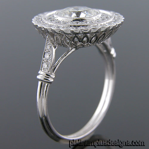 1186-1 Custom designed Vintage inspired Micro Pave diamond double halo mount - Click Image to Close
