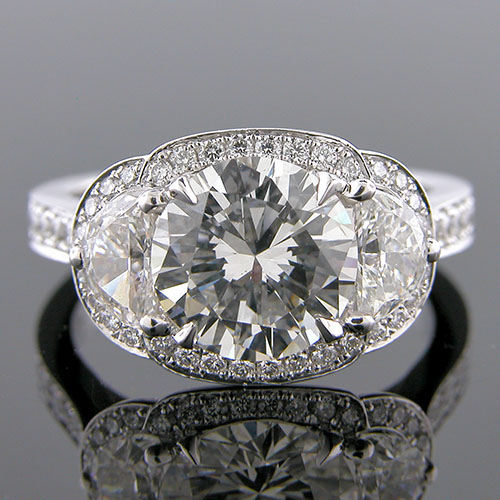 1187-1 Transitional fancy moon-shaped and Pave set diamond platinum engagement ring semi mount