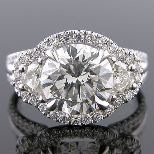1187GR-1 Vintage-inspired fancy moon-shaped and groove-set diamond platinum engagement ring semi mount
