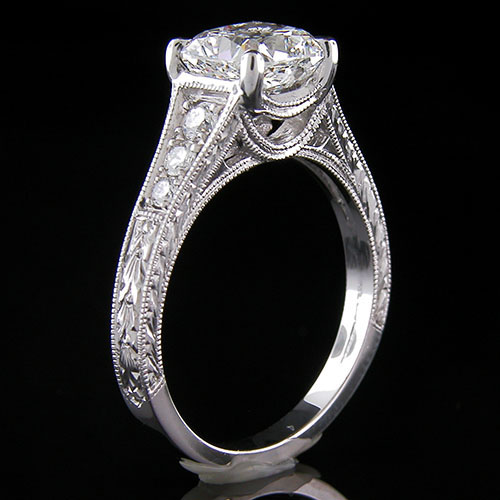 1189-1 Custom designed Vintage inspired Pave diamond platinum mount