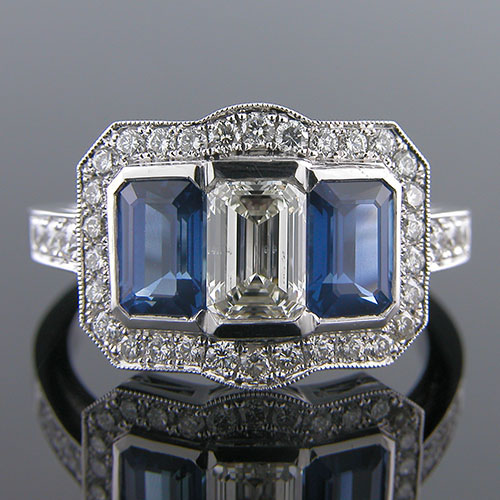 1190-4 Art Deco rectangular sapphire and Pave set diamond platinum engagement ring semi mount