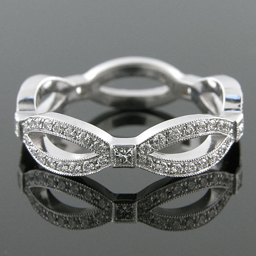 Princess cut square diamond and Pave set round diamond platinum bowtie wedding eternity band 1192W-101P
