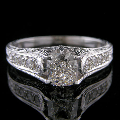 1195-1 Custom designed Vintage inspired Pave diamond and filigree platinum mount