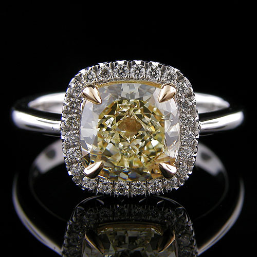 1196-1 Modern Retro Vintage-inspired cutdown-set diamond platinum and 18K yellow gold engagement ring semi mount