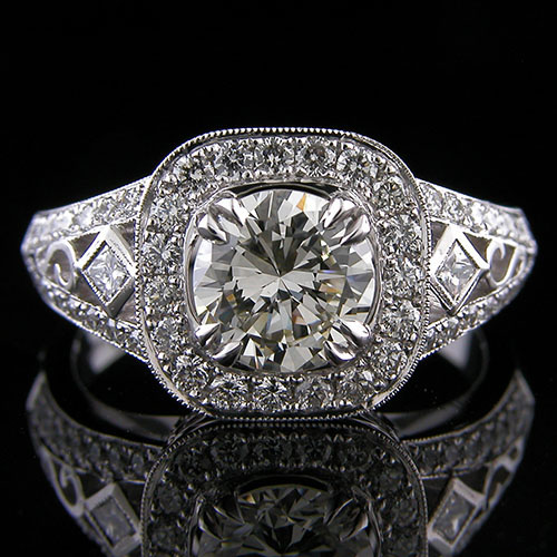 1197-1 Vintage inspired square diamond and Pave set diamond halo platinum split shank engagement ring semi mount