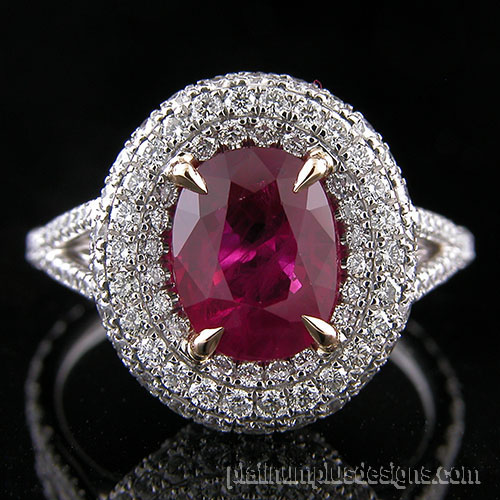 119801 2 carat Burmese ruby & 3 carat diamond platinum / 18K yellow gold ring