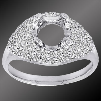 1239-1 Art Deco Micro Pave set diamond dome platinum semi mount