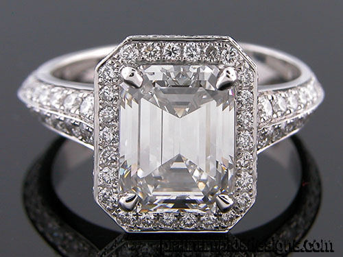 1250-1 Micro Pave diamond platinum Vintage inspired engagement ring setting