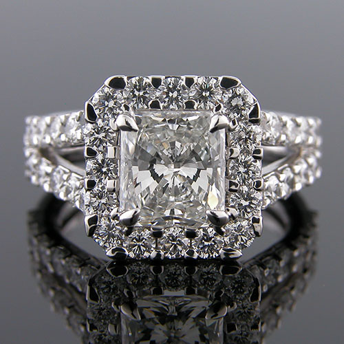 1251-1 Mid Century inspired groove set diamond halo platinum engagement ring semi mount