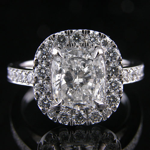 1254-1 Custom designed Pave set and groove set diamond platinum mount