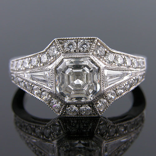 1255-1 Custom designed Vintage inspired tapered baguette diamond and Pave diamond platinum semi mount