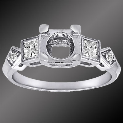 1264-1 Vintage inspired French cut square diamond and round diamond platinum semi mount