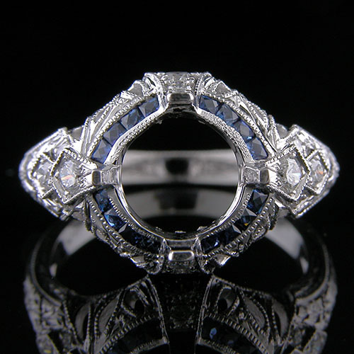 1265-4 Custom designed Vintage inspired French cut sapphire with diamond platinum engagement ring setting