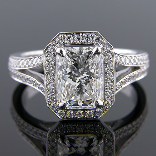 1267-1 Custom designed Micro Pave diamond split shank platinum mount