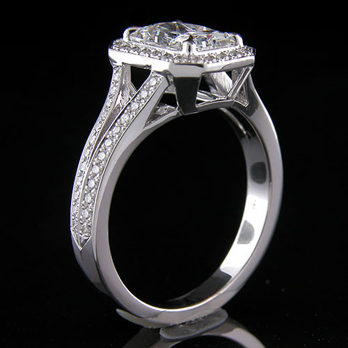 1267-1 Custom designed Micro Pave diamond split shank platinum mount - Click Image to Close