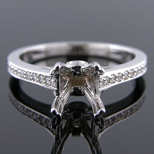 1268-1 Custom designed Micro Pave diamond with bezel set diamond platinum mount
