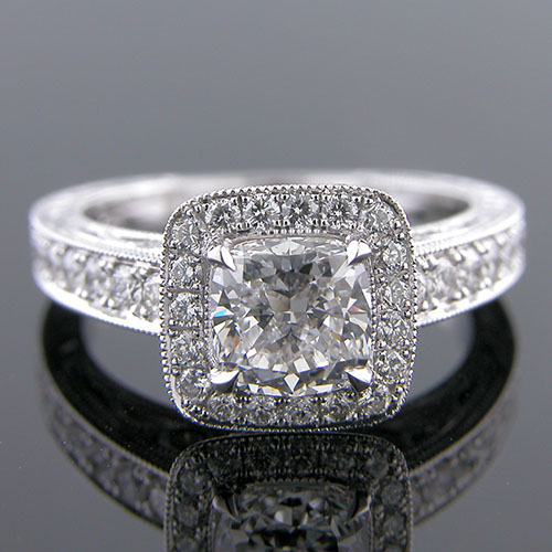 1271-1 Custom designed Vintage inspired Pave set diamond with bezel set diamond platinum mount