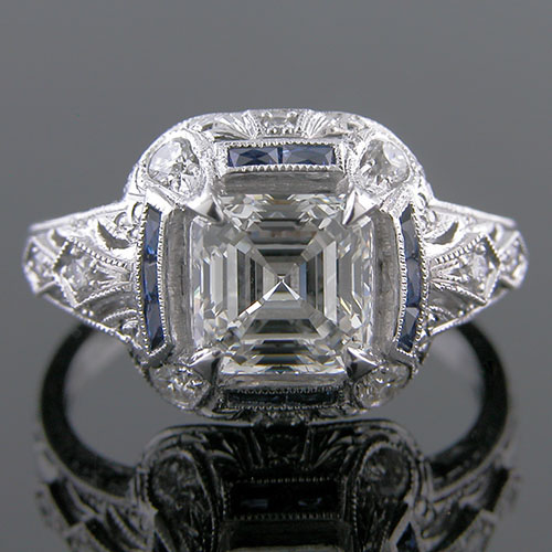 1276-4 Custom designed Vintage inspired French cut sapphire with diamond platinum semi mount engagement ring setting