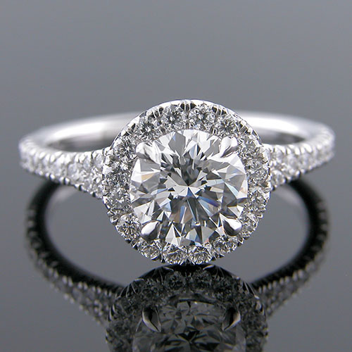1280-1 Custom designed Vintage inspired cut-down set diamond single halo platinum engagement ring setting