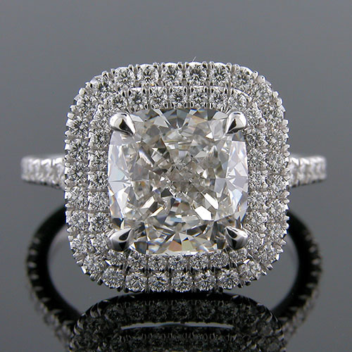 1281-1 Custom designed Vintage inspired cut-down set diamond double halo platinum engagement ring setting