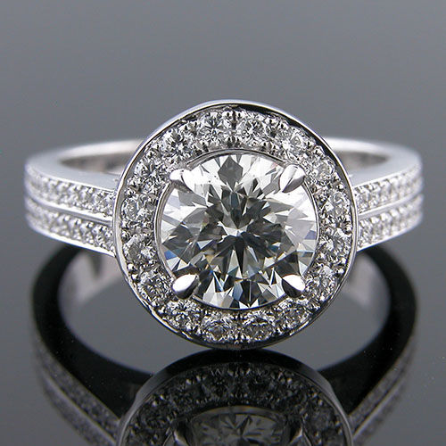 1282-1 Custom designed Vintage inspired Micro Pave diamond platinum halo semi mount