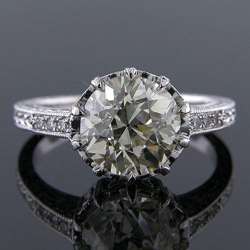 1283-1 Art Deco reproduction Micro Pave set single cut diamond filigree crown platinum engagement ring semi mount