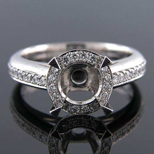 1284-1 Custom designed Vintage inspired Micro Pave diamond platinum semi mount