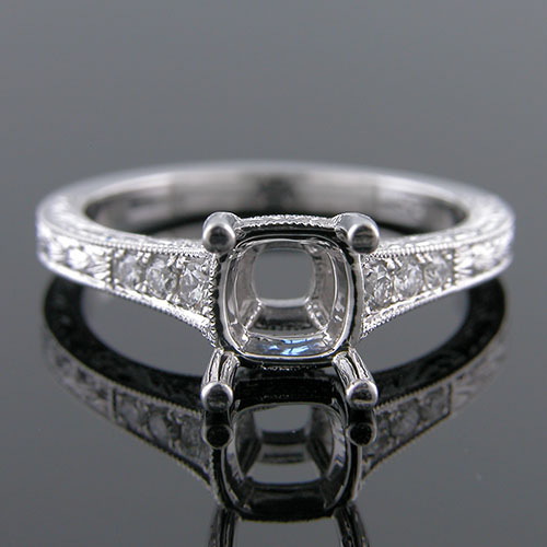 1285-1 Custom designed Vintage inspired Micro Pave diamond platinum engagement ring setting
