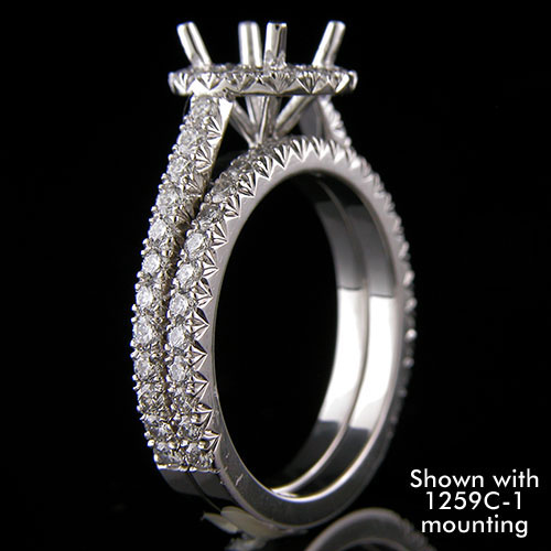 1299WCT-101P Contemporary cutdown set diamond platinum three-quarter stone wedding band