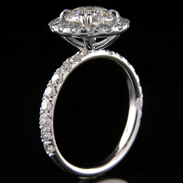 1311-1 Vintage inspired groove set diamond halo round shank platinum wedding engagement semi mount