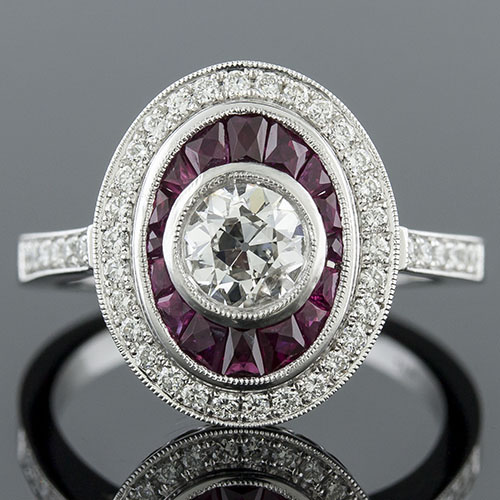 1315-3 Art Deco-inspired tapered French cut ruby and Micro Pave diamond double-halo engagement ring semi mount