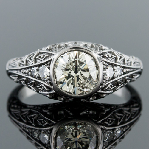1316-1 Georgian-Napoleon Berlin Iron-inspired single cut diamond blackened platinum engagement ring semi mount