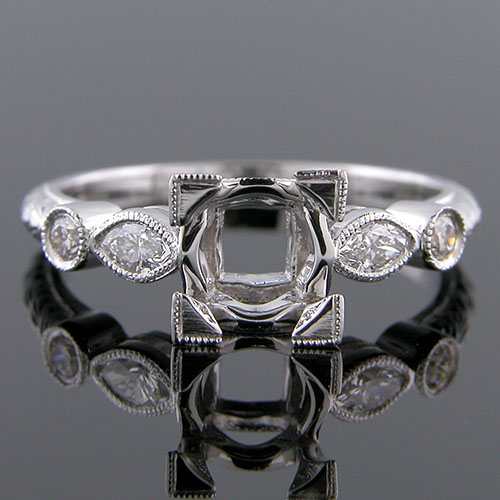 1317-1 Art Deco reproduction fancy marquise-shaped diamond and round diamond platinum engagement ring semi mount