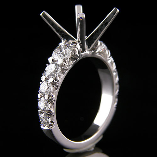 1319-1 Contemporary graduated fancy common-prong set diamond platinum engagement ring semi mount
