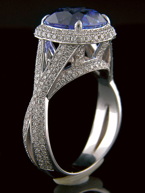 1325-1 Dramatic vintage inspired Micro Pave set diamond encrusted platinum engagement ring semi mount