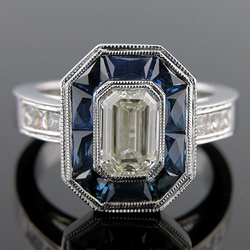 1326-4 Art Deco inspired fancy tapered baguette sapphire and Princess cut diamond platinum engagement ring semi mount