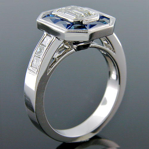 1326-4 Art Deco inspired fancy tapered baguette sapphire and Princess cut diamond platinum engagement ring semi mount - Click Image to Close